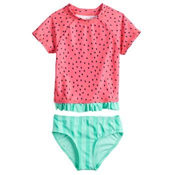 Toddler Girl Jumping Beans® Watermelon Rash-Guard & Swim Bottoms Set Jumping Beans