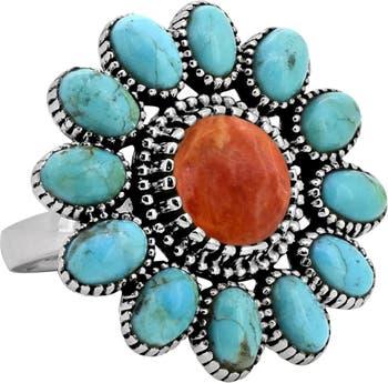 Кольцо Mohave из стерлингового серебра с бирюзой и коралловым цветком Nitya