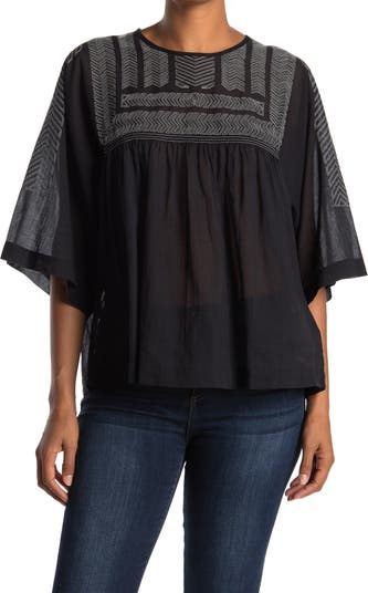 Leila Embroidered Design Flutter Sleeve Blouse CLOSED