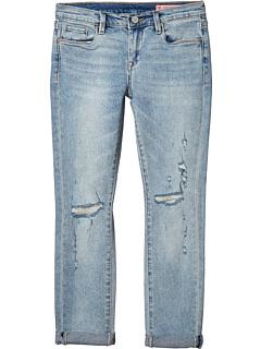 Синяя джинсовая ткань скинни с рваными на коленях на краю (Big Kids) Blank NYC Kids