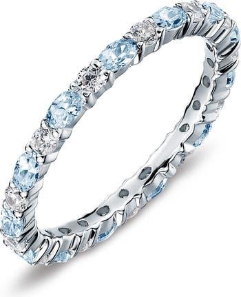 Кольцо с имитацией бриллианта из стерлингового серебра с мартовским камнем и камнем, которое можно штабелировать LaFonn