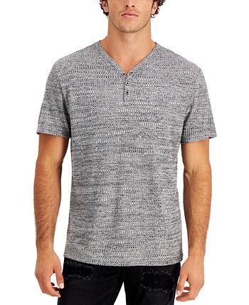 Мужская текстурированная ткань из жаккарда Henley с меланжем, созданная для Macy's INC International Concepts