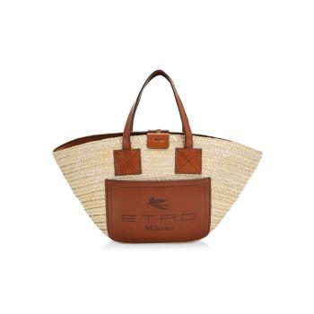 Маленькая сумка-тоут с соломенным веером Rafia Etro