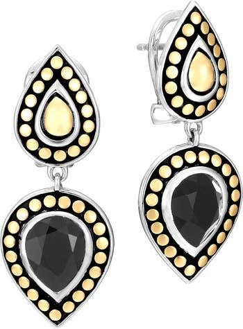 Двойные серьги-капли Batu Dot из желтого золота 18 карат и стерлингового серебра JOHN HARDY