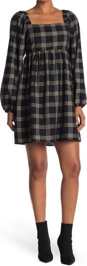 Plaid Long Sleeve Babydoll Dress KENEDIK