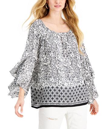 Блуза с оборками на рукавах и смешанным принтом Fever