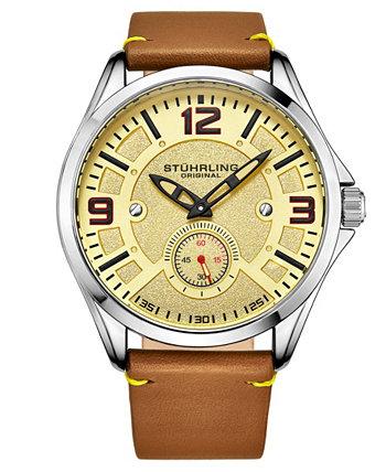Мужские светло-коричневые часы с кожаным ремешком 43мм Stuhrling