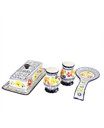 Люксембургский набор керамических принадлежностей, 4 шт., Расписанный вручную керамогранит Laurie Gates