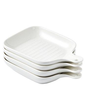 Тарелка для сервировки блюд с формой для выпечки с ручкой Skillet Look, обеденные тарелки, набор из 4 шт. Bruntmor