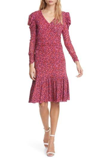 Обтягивающее платье с длинными рукавами Alyssa Puff Diane von Furstenberg