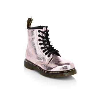 Little & amp; Детские армейские ботинки с эффектом металлик 1460 Crinkle Dr. Martens