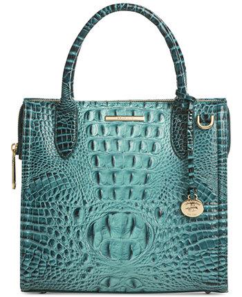 Маленькая кожаная сумка-портфель Caroline Melbourne с тиснением Brahmin