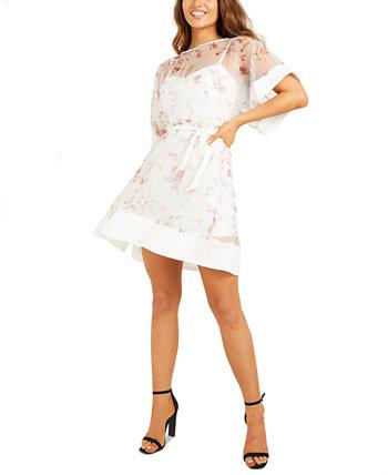 Юниорское платье из органзы с принтом и поясом Quiz