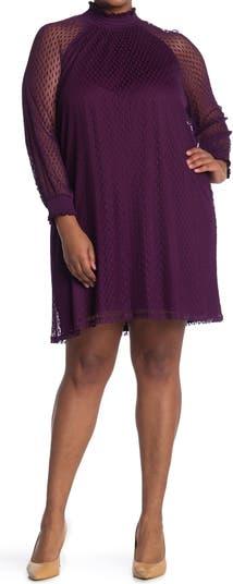 Shirred Mock Neck Lace Trapeze Dress Nina Leonard