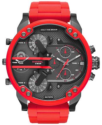 Мужские часы с хронографом Mr. Daddy 2.0 с красным силиконовым ремешком 55x66 мм DZ7370 Diesel