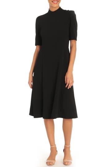 Mock Neck Button Shoulder Fit & Flare Dress (Petite) Donna Morgan