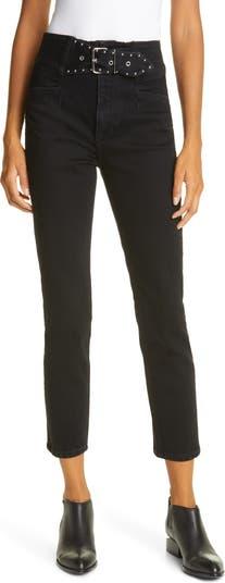 Укороченные джинсы с поясом с заклепками Alivia GRLFRND