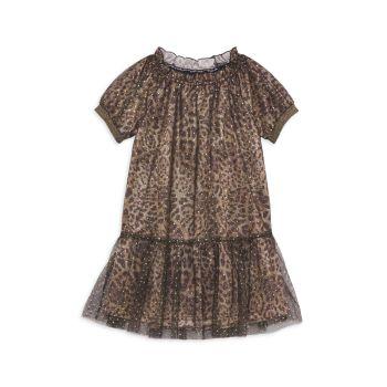 Блестящее платье с принтом гепарда для маленькой девочки Imoga