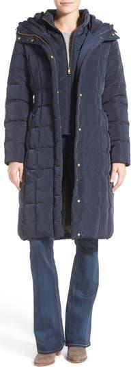 Puffer Zip Bib Insert Hooded Down Jacket COLE HAAN SIGNATURE