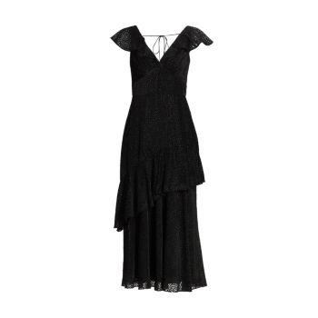 Бархатное платье с оборками ML Monique Lhuillier