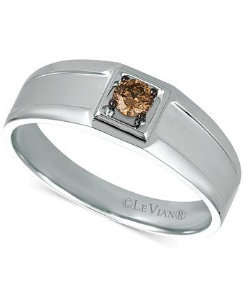 Мужское кольцо с шоколадным бриллиантом Chocolatier® (1/5 карата) из белого золота 585 пробы Le Vian