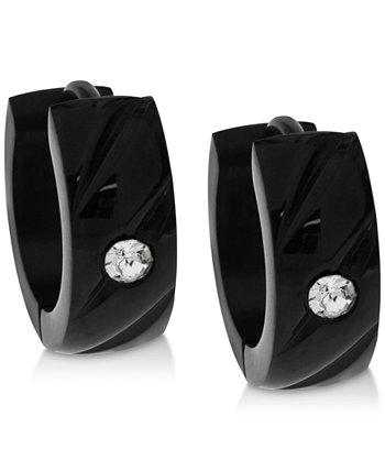 Черные серьги-кольца из нержавеющей стали с цирконом из нержавеющей стали для мужчин Sutton by Rhona Sutton