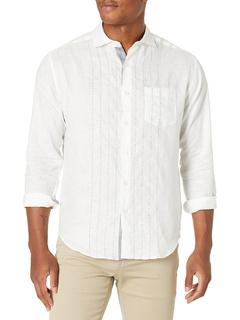 Рубашка с длинным рукавом из 100% льняной ткани с вышивкой Cubavera