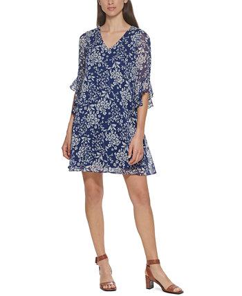 Ruffled-Sleeve Chiffon Dress Calvin Klein