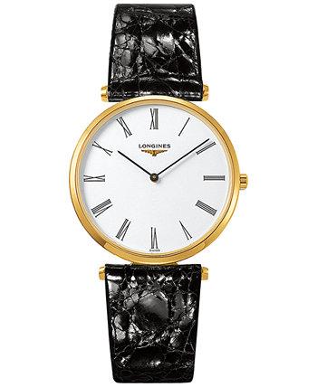 Мужские швейцарские часы La Grande Classique de Longines с черным ремешком из кожи аллигатора 36 мм L47552112 Longines