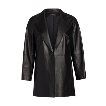 Кожаная куртка Kourt с заостренными лацканами Lafayette 148 New York, Plus Size