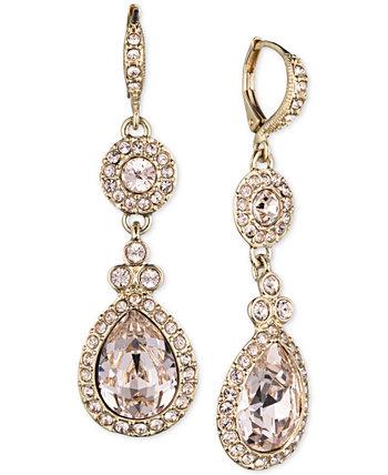 Серебряные серьги-двойки Swarovski Element Givenchy