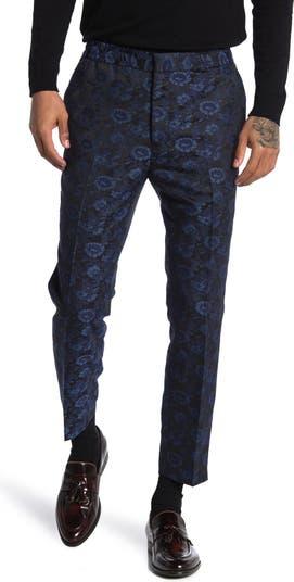 Синие брюки из жаккарда с цветочным принтом TOPMAN