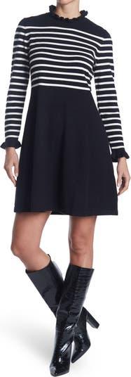 Платье-свитер в полоску с оборками и воротником-стойкой Eliza J