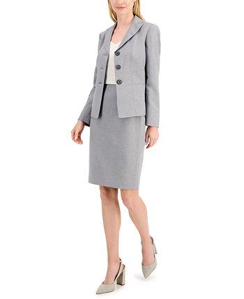 Костюм с меланжевой юбкой с глазурованной застежкой на трех пуговицах Le Suit