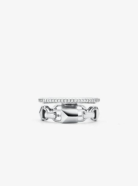 Кольцо Mercer Link с покрытием Halo из стерлингового серебра с драгоценными металлами и паве Michael Kors