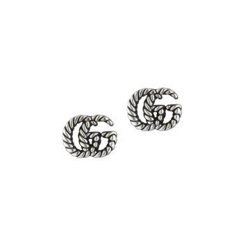 Серьги-гвоздики из состаренного серебра с мотивом в виде двойной буквы G GUCCI