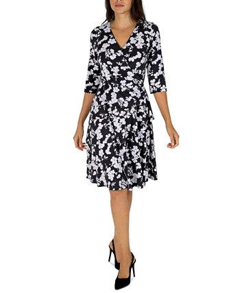 Миниатюрное платье с искусственным запахом и оборками на рукавах 3/4 с цветочным принтом и оборками Robbie Bee