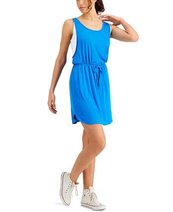 Платье без рукавов с кулиской и цветными блоками Fever