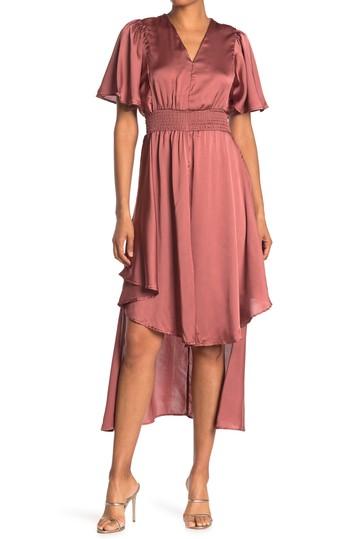 Атласное платье с высоким / низким вырезом и V-образным вырезом Angie
