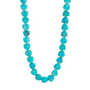 Nevada 14K Yellow Gold & Turquoise Heart Bead Necklace Jia Jia