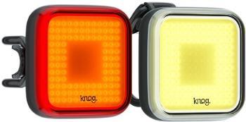 Передний и задний велосипедный фонарь Blinder Square Twinpack Knog