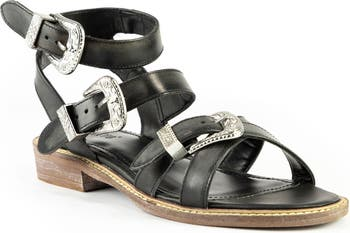 Opal Western Buckle Strappy Leather Sandal Crevo