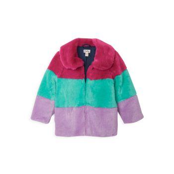 Маленькая девочка & amp; Пальто в полоску из искусственного меха для девочек Hatley