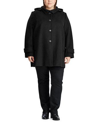 Пальто большого размера с капюшоном из смесовой шерсти, созданное для Macy's Ralph Lauren