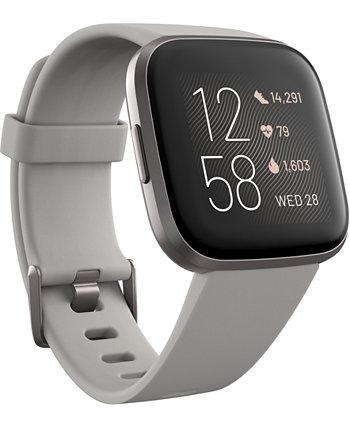 Смарт-часы Versa 2 Mist Grey с эластомерным ремешком и сенсорным экраном, 39 мм Fitbit