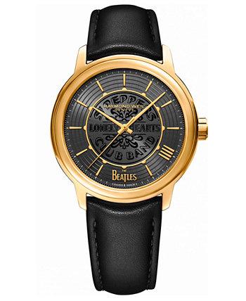 Мужские швейцарские автоматические часы Maestro Beatles с черным веганским ремешком 39,5 мм Raymond Weil