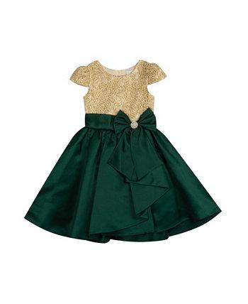 Платье для маленьких девочек с вышивкой на коротких рукавах Rare Editions