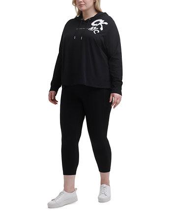 Plus Size Graffiti-Logo Hooded Top Calvin Klein