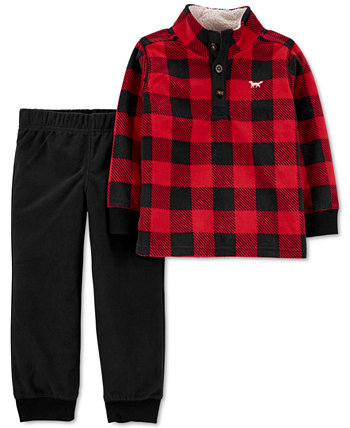 Детские Мальчики 2-Шт. Комплект флисового пуловера и брюк в клетку Buffalo Carter's