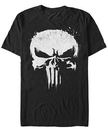 Мужская футболка с коротким рукавом Punisher White Paint Splattered Skull с короткими рукавами Marvel